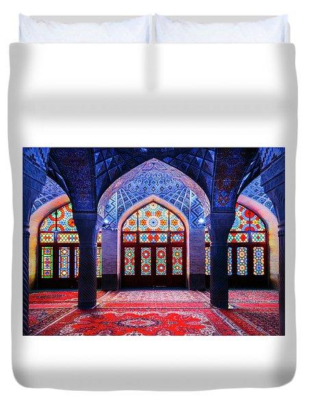 Pink Mosque, Iran Duvet Cover