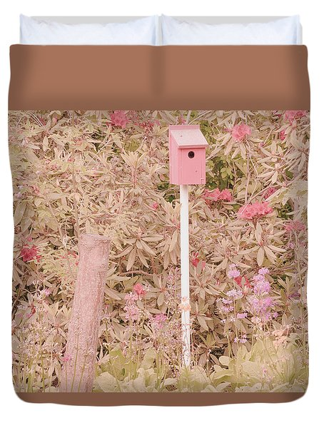 Pink Nesting Box Duvet Cover by Bonnie Bruno