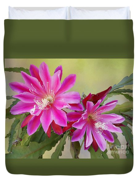 Pink Epiphyllum Lily Duvet Cover