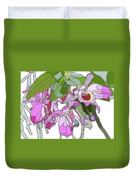 Pink Orchid Bunch Duvet Cover