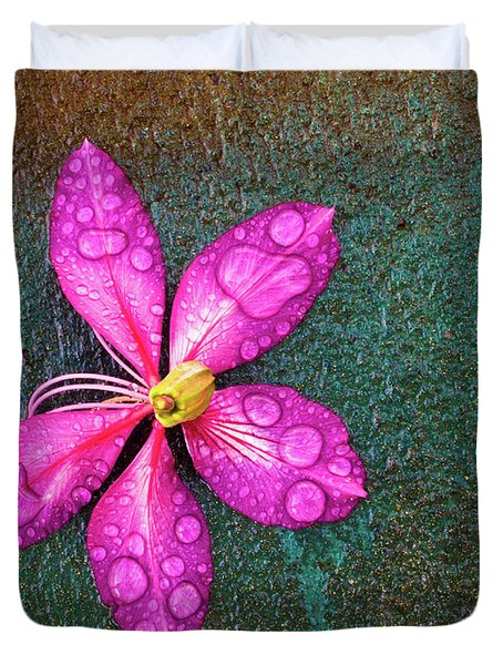 Pink Orchid Flower Duvet Cover