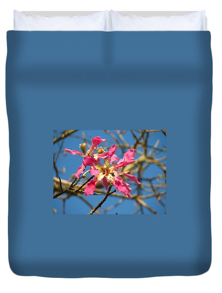 Pink Orchid Tree Duvet Cover