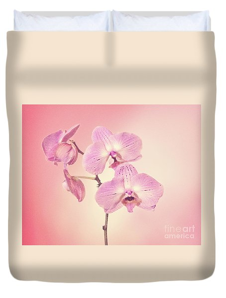 Duvet Cover featuring the photograph Pink Orchids 2 by Linda Phelps