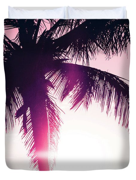 Duvet Cover featuring the photograph Pink Palm Tree Silhouettes Kihei Tropical Nights by Sharon Mau
