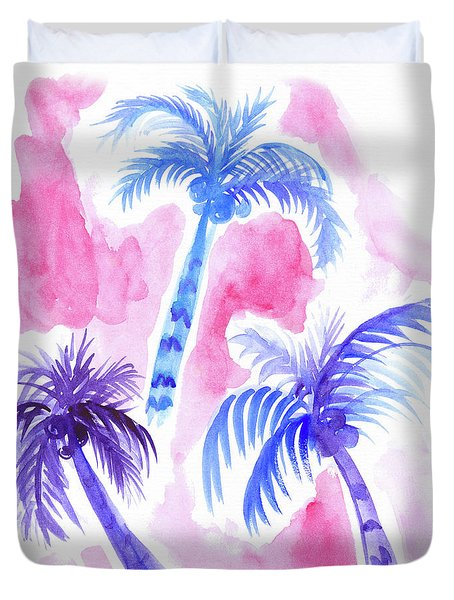 Pink Palm Trees Duvet Cover