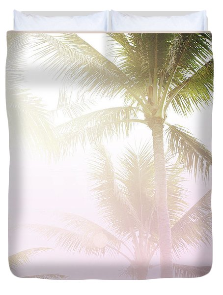 Duvet Cover featuring the photograph Pink Palms by Cindy Garber Iverson