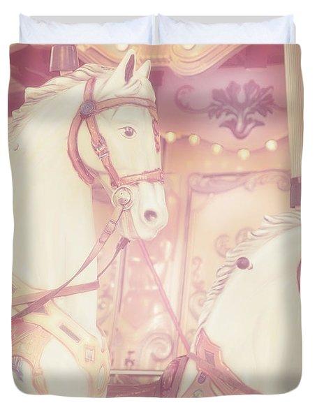 Duvet Cover featuring the photograph Pink Paris Carousel by Gigi Ebert