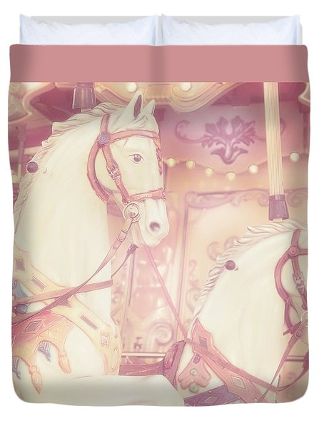 Pink Paris Carousel Duvet Cover