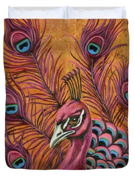Duvet Cover featuring the painting Pink Peacock by Leah Saulnier The Painting Maniac