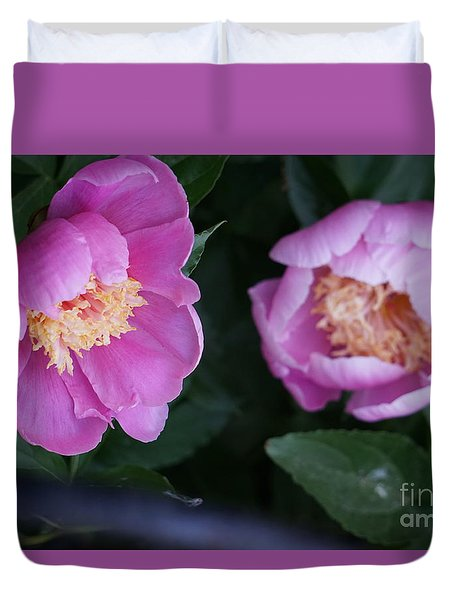 Duvet Cover featuring the photograph Pink Peones by Rod Ismay