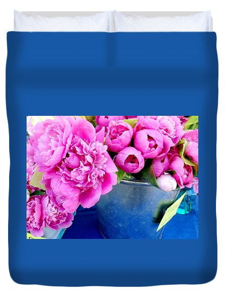 Pink Peonies In A Bucket Duvet Cover