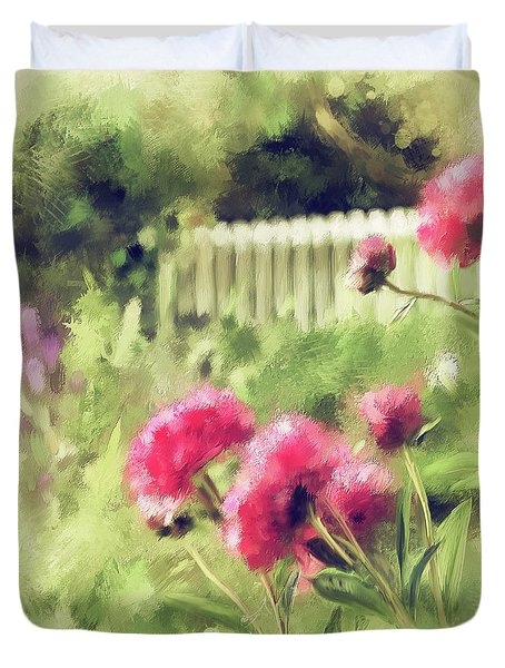 Duvet Cover featuring the digital art Pink Peonies In A Vintage Garden by Lois Bryan