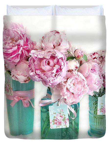 Pink Peonies In Aqua Vases Romantic Watercolor Print - Pink Peony Home Decor Wall Art Duvet Cover