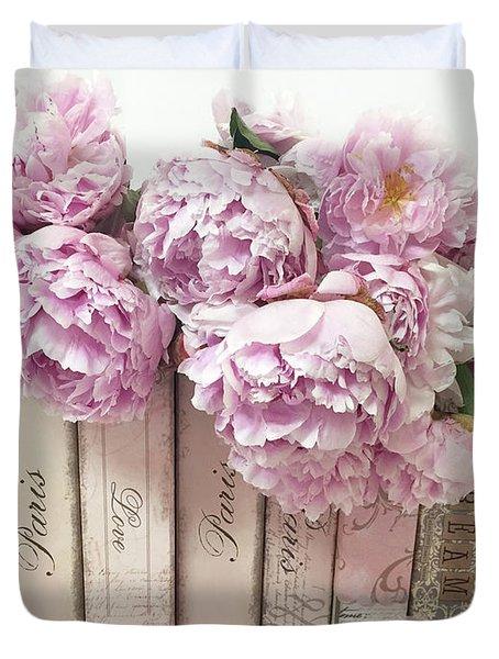 Pink Peonies Paris Books Romantic Shabby Chic Wall Art Home Decor Duvet Cover