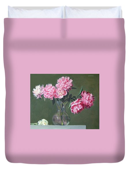 Pink Peonies Walking The Plank Duvet Cover