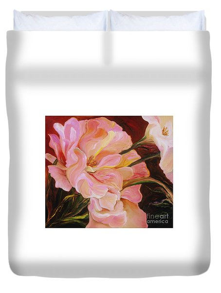 Duvet Cover featuring the painting Pink Peony by Donna Hall