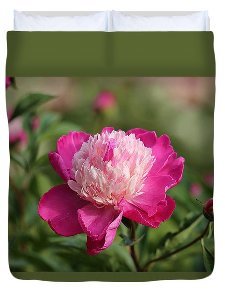 Duvet Cover featuring the photograph Pink Peony In The Morning by Lynn Hopwood