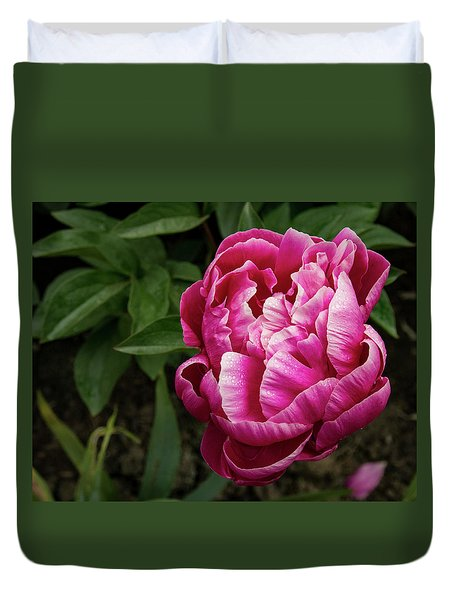 Duvet Cover featuring the photograph Pink Peony by Jean Noren