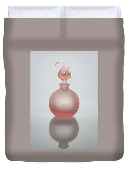 Duvet Cover featuring the photograph Pink Perfume Bottle Vertical by David and Carol Kelly