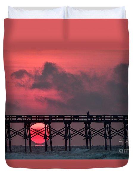 Pink Pier Sunrise Duvet Cover