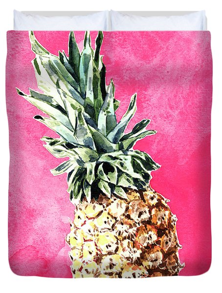 Pink Pineapple Bright Fruit Still Life Healthy Living Yoga Inspiration Tropical Island Kawaii Cute Duvet Cover