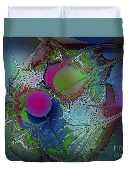 Duvet Cover featuring the digital art Pink Ping Pong Ball by Karin Kuhlmann