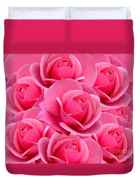 Pink Pink Roses Duvet Cover