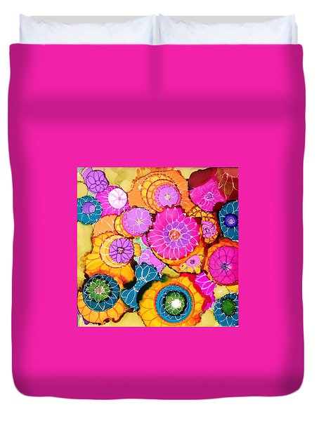 Pink Pinwheel Flowers Duvet Cover by Suzanne Canner