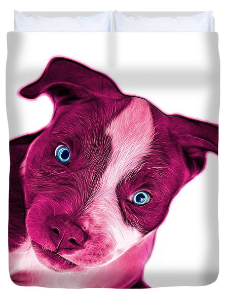 Pink Pitbull Dog Art 7435 - Wb Duvet Cover by James Ahn