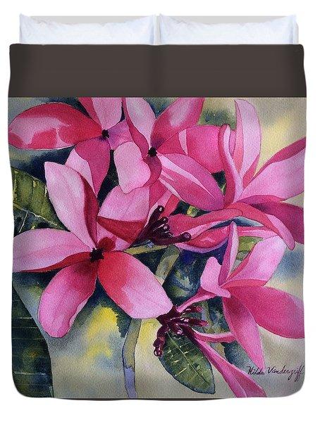 Pink Plumeria Flowers Duvet Cover