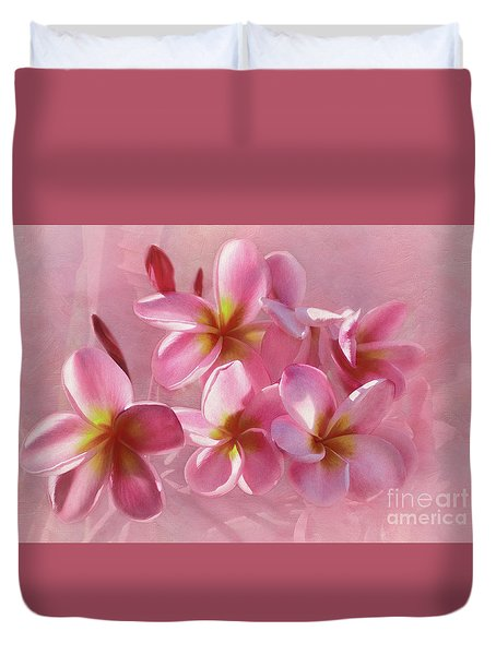 Duvet Cover featuring the photograph Pink Plumeria Pastel By Kaye Menner by Kaye Menner