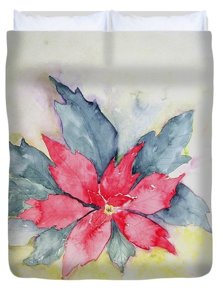 Pink Poinsetta On Blue Foliage Duvet Cover
