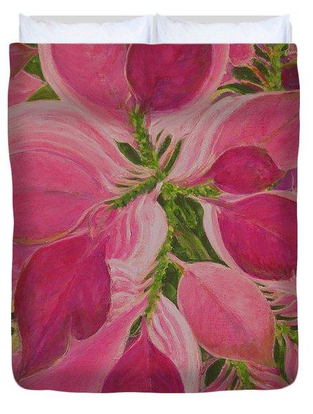 Pink Poinsettia Duvet Cover