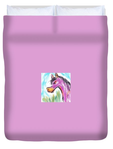 Duvet Cover featuring the digital art Pink Pony by Marti McGinnis