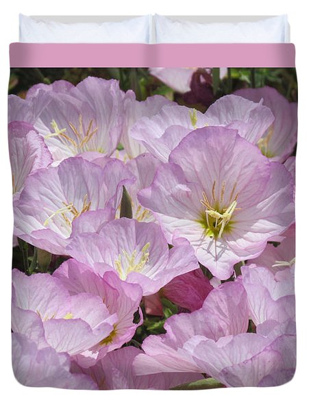 Duvet Cover featuring the photograph Pink Primrose by Bonnie Muir
