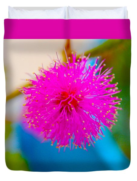 Pink Puff Flower Duvet Cover