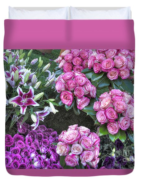 Pink, Purple And Lillies Duvet Cover