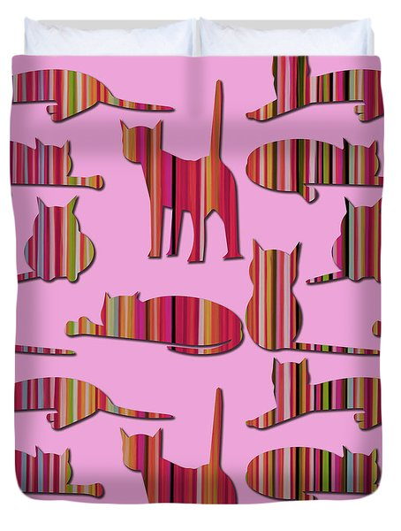 Duvet Cover featuring the mixed media Pink Pussy Cat by Carla Bank