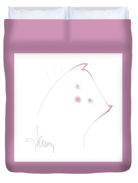 Duvet Cover featuring the mixed media Pink Pussycat by Larry Talley