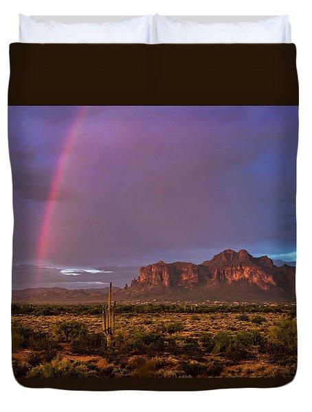 Duvet Cover featuring the photograph Pink Rainbow  by Saija Lehtonen