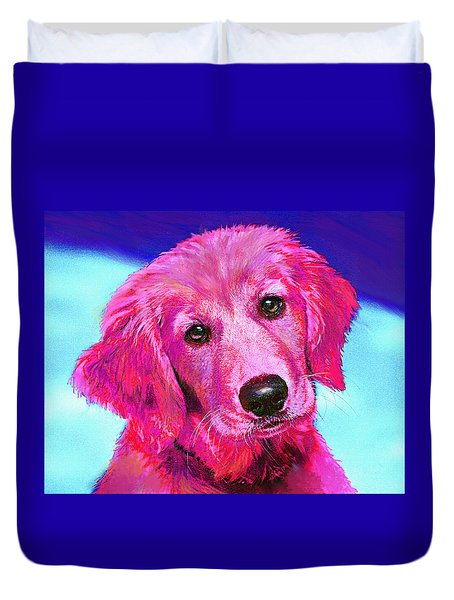 Pink Retriever Duvet Cover by Jane Schnetlage