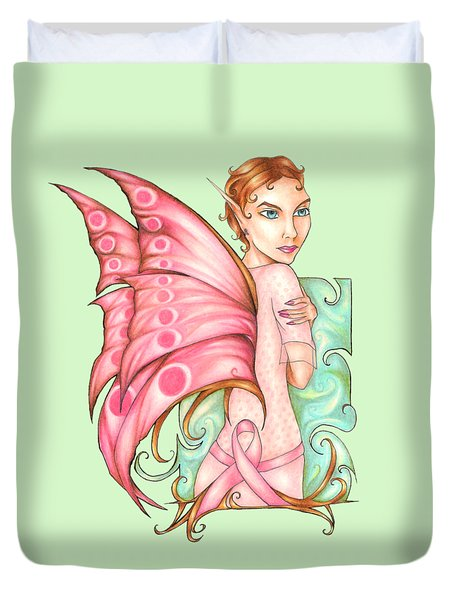 Pink Ribbon Fairy For Breast Cancer Awareness Duvet Cover