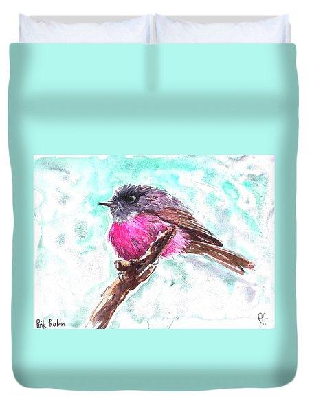 Pink Robin  Duvet Cover