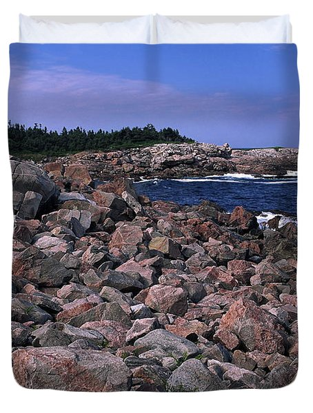 Pink Rock Shoreline Duvet Cover by Sally Weigand
