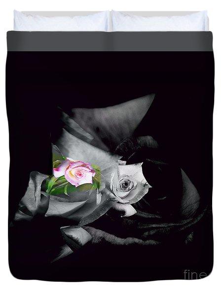 Pink Rose 2 Shades Of Grey Duvet Cover