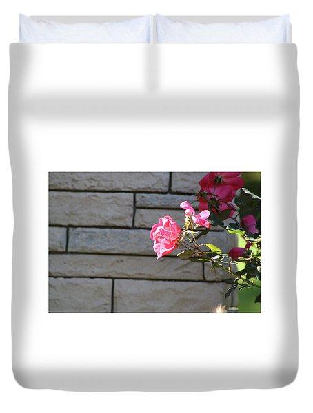 Pink Rose Against Grey Bricks Duvet Cover