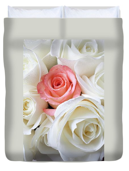 Pink Rose Among White Roses Duvet Cover by Garry Gay