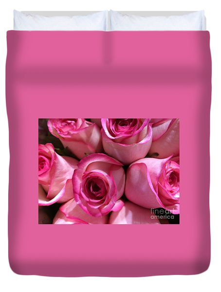 Pink Rose Bouquet Duvet Cover