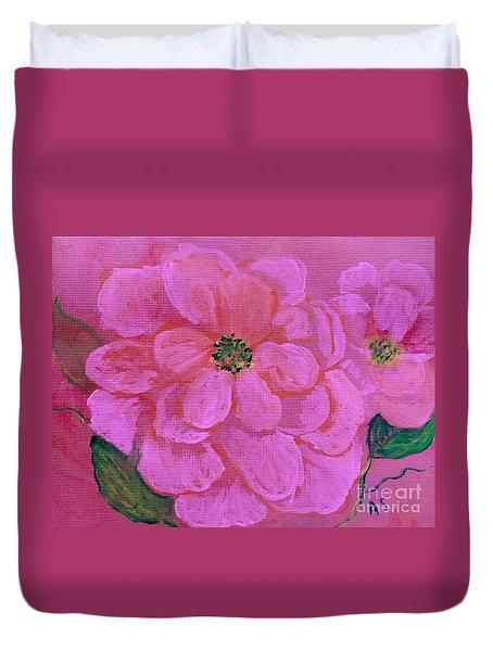 Pink Rose Flowers Duvet Cover