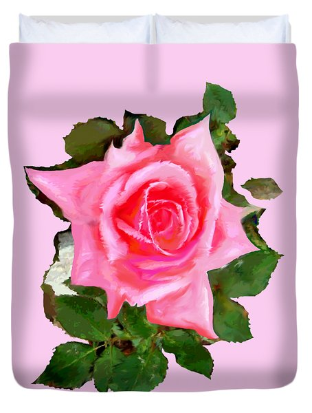 Pink Rose Duvet Cover by Mary Armstrong